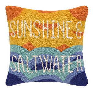 Sunshine & Saltwater Coastal Throw Pillow