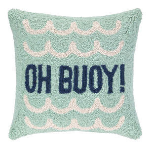 Oh Buoy Hook Pillow - By the Sea Beach Decor