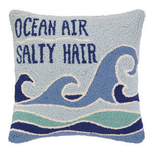 Ocean Air Salty Hair Coastal Decor Hook Pillow