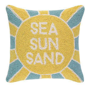 Sea, Sun, Sand Coastal Decor Hook Pillow