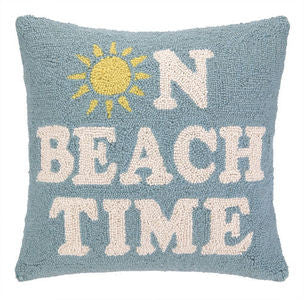 On Beach Time Coastal Decor Hook Pillow