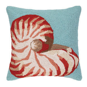Destin Sand Sealife Nautilus Hook Pillow - By the Sea Beach Decor