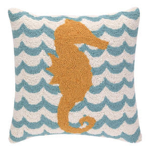 Chappy Point Seahorse Hook Pillow - By the Sea Beach Decor