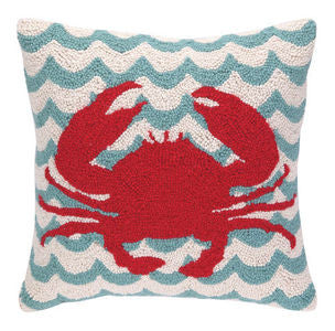 Wave Crab Coastal Decor Hook Pillow