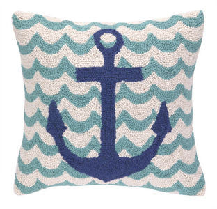 Wave Anchor Coastal Decor Pillow