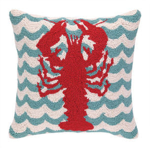 Chappy Point Lobster Hook Pillow - By the Sea Beach Decor
