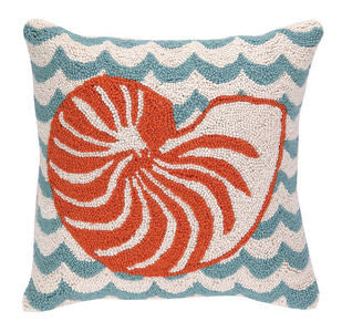 Chappy Point Nautilus Hook Pillow - By the Sea Beach Decor