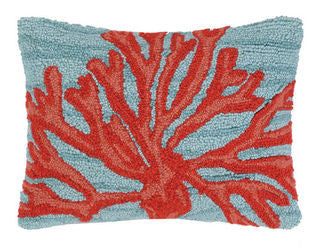 Katama Beach Coral Hook Pillow - By the Sea Beach Decor