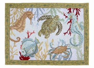 Sealife Nautical Hook Rug