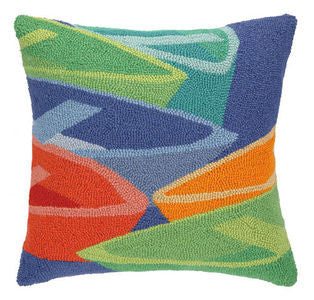 Clearwater Colorful Boats Hook Pillow - By the Sea Beach Decor