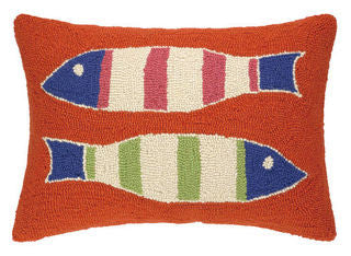 Orange Picket Fence Fish Coastal Hook Pillow