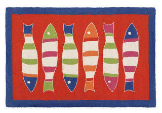 Orange Picket Fish Throw Rug - By the Sea Beach Decor