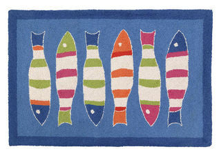 Blue Fish Picket Fence Hook Throw Rug - By the Sea Beach Decor