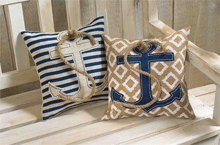 Rustic Beach Anchor & Rope Burlap Pillow Set - By the Sea Beach Decor