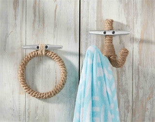 Jute Rope Coastal Decor Wall Hooks - By the Sea Beach Decor