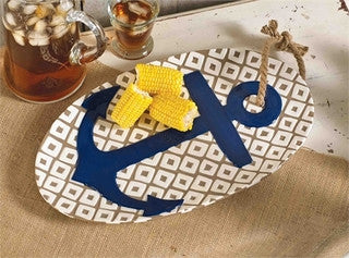 Anchor Ceramic Serving Platter - By the Sea Beach Decor
