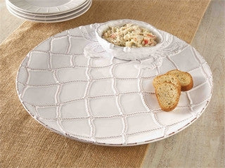 Beach Entertaining Crab Chip & Dip White Ceramic