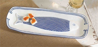 Blue Net Fish Serving Platter - By the Sea Beach Decor