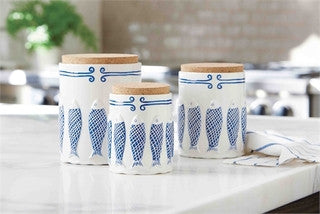 Beach Kitchen Blue Net Fish Canister Set
