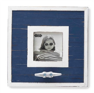 Navy Planked Boat Cleat Frame - By the Sea Beach Decor