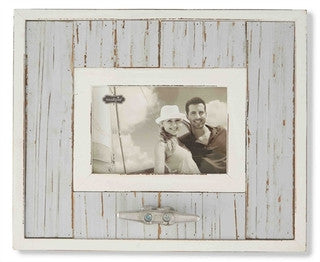 Gray Planked Boat Cleat Frame - By the Sea Beach Decor
