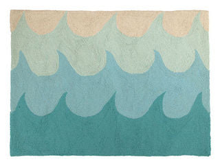 Turquoise Waves Hook Throw Rug
