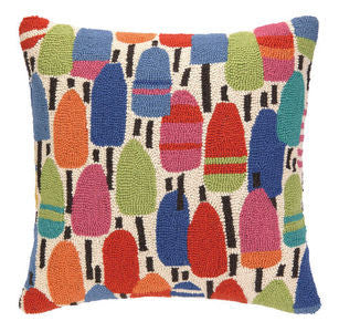 Clearwater Vibrant Buoys Nautical Hook Pillow - By the Sea Beach Decor