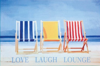 Love Laugh Lounge Outdoor Coastal Canvas - By the Sea Beach Decor