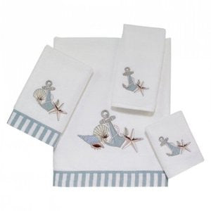Anchors & Shells White Towel Set - By the Sea Beach Decor