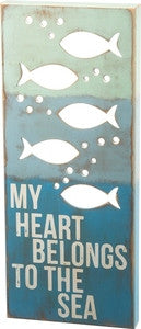 My Heart Belongs to the Sea Box Sign - By the Sea Beach Decor