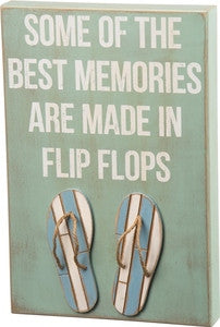Flip Flop Memories Wooden Box Sign - By the Sea Beach Decor