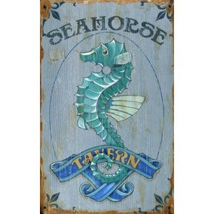 Seahorse Tavern Wooden Artwork Print - By the Sea Beach Decor