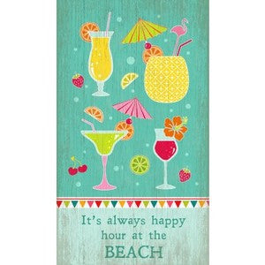 Happy Hour Wood Print - By the Sea Beach Decor