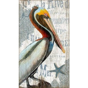 Pelican Wood Print - By the Sea Beach Decor