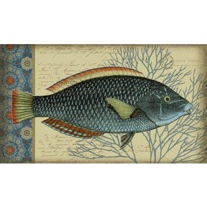 Indigo Fish I Wood Print - By the Sea Beach Decor