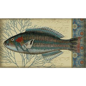 Indigo Fish II Wood Print - By the Sea Beach Decor