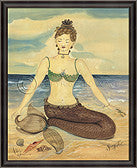 Mermaid Zen Framed Art - By the Sea Beach Decor