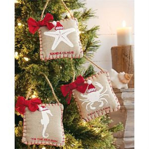 Santa Hat Sea Ornament Set - By the Sea Beach Decor
