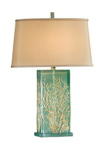 Aqua Translucent Table Lamp - By the Sea Beach Decor