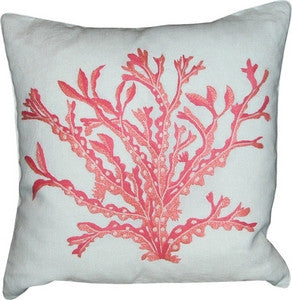 Coral Embroidered Pillow Cover - By the Sea Beach Decor