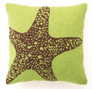 Green Starfish Hook Pillow - By the Sea Beach Decor