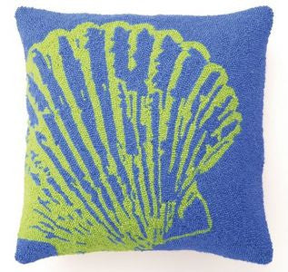 Green Scallop Shell Beach Decor Pillow