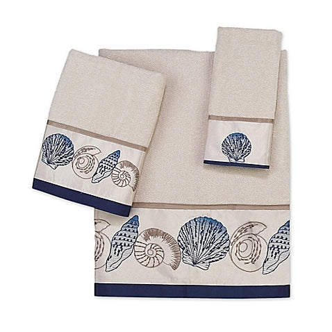 Hampton Shells Ivory Towel Set - By the Sea Beach Decor