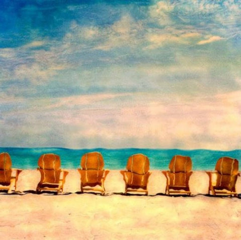 Golden Beach Chairs Wooden Artwork Print - By the Sea Beach Decor