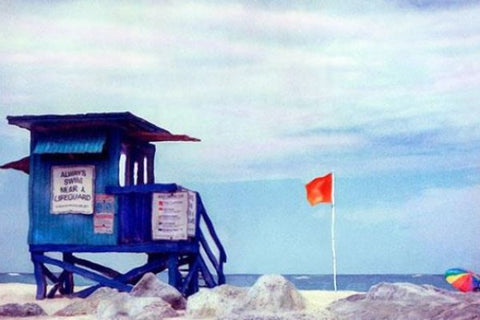 Lifeguard Stand Wooden Artwork Print - By the Sea Beach Decor