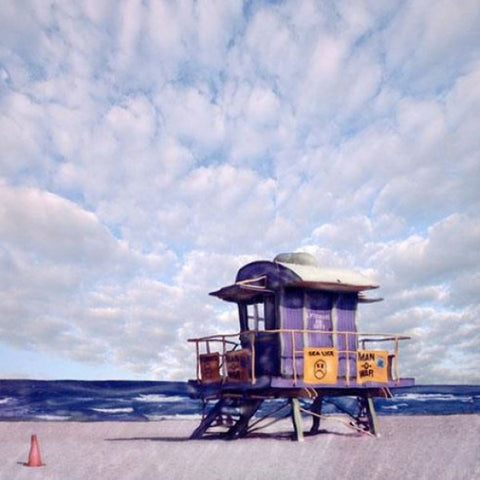 Purple Lifeguard Stand Wooden Artwork Print - By the Sea Beach Decor
