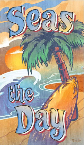 Seas the Day Wood Print - By the Sea Beach Decor