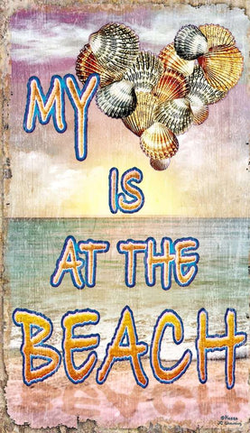 My Heart is at the Beach Wood Print - By the Sea Beach Decor