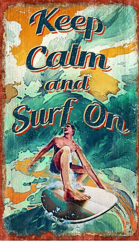 Keep Calm & Surf On Wood Print - By the Sea Beach Decor