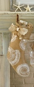 Burlap Nautilus Stocking - By the Sea Beach Decor